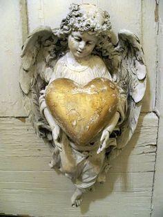 Happy Valentine's....Shabby chic angel figurine wall decor holding golden heart ooak Anita Spero