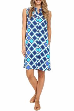 Eye-catching tiles create a relaxing look to this standout dress. Shirt dress boasts a soft jersey fabrication. It features a fold over collar with a sleeveless design. A hidden button up placket and center box pleat at back yoke. As well as on-seam hand pockets and shirttail hemline.  Aztec Sleeveless Shirtdress by Hatley. Clothing - Dresses - Short Sleeve Massachusetts