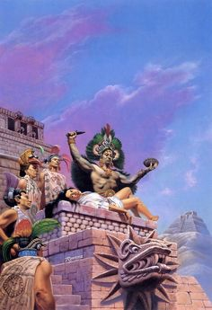 Art by Rowena Morrill Ancient Aztecs, Ancient Civilizations, Aztecas Art, Aztec Empire, Aztec Culture, Aztec Warrior, Inka, Chicano Art, Conquistador