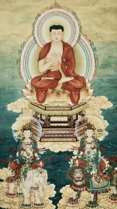 華嚴三聖 Korean Art, Asian Art, Amitabha Buddha, Buddhist Philosophy, Buddhists, Buddha Art, Deities, Sculpture Art, Mandala