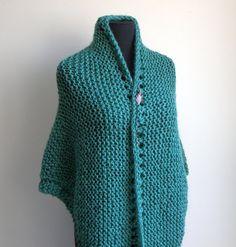 Hand Knit Prayer Meditation Comfort Shawl Wrap, Jade Green, Acrylic Vegan