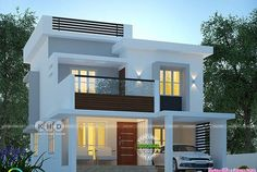 1600 square feet 3 BHK modern contemporary house plan by Dream Form from Kerala. Two Story House Design, 2 Storey House Design, Duplex House Design, House Front Design, Bungalow Haus Design, Modern Bungalow House, Style At Home, House Construction Plan, Model House Plan