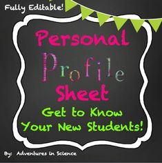 Getting to know your new students each year can be hard, but it's important to connect to them. Your students need to know that you care. Personal Profile Sheets make this task easier by giving you something to reference as you slowly start to learn about your new students. They are perfect for the first few days of school as everyone is settling in. $