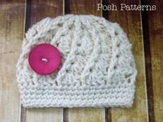 This pattern makes a beautiful and elegant hat. It has a shell stitch pattern that spirals around, and also has a somewhat lacy effect. It's worked in a bulky yarn, making it a quick and fun project. Add a gorgeous big button for a cute finishing touch! Instant Download Pattern--PDF 247 Sizes include: Newborn, Baby, Toddler/Young Child, Adult.