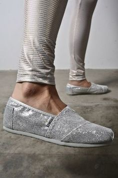 Silver Toms Glitters Women's Shoes