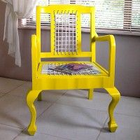 Buy an old chair, replace the seat and back with leather 'riempies' (or nylon rope for a more modern look), and paint it your favourite colour. Your Favorite, Favorite Color, Online Gifts, Outdoor Furniture, Outdoor Decor, Coffee Shop, Accent Chairs, Home And Garden, Contemporary