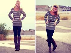 long sweater + leggings + boots = FALL