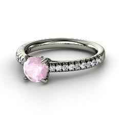 Floral Secret Ring, Round Rose Quartz Palladium Ring with Diamond . New jewelry from Gemvara!