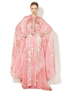 I want to start dressing like older Liz Taylor... Reem Acra Silk Chiffon Embroidered Caftan Gown