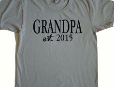 New GRANDPA est. 2015 - New Papa tee shirt - American Apparel Power Wash Tee -S,M,L,XL,2XL (7 color choices)