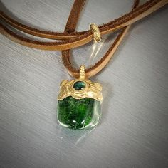 CHROME DIOPSIDE green with Emerald Pendant, Gold 24k plated, Quality and Precious, Spiritual Crystal, Keepsake, Charm, Bijou, Trinket, Gem by GingerandFoxy on Etsy