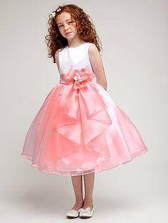 Coral Organza Skirt Dress w/ Bow & Flower