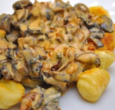 Fried Gnocchi with Creamy Mushroom Sauce - make small for a first course or double for a vegetarian main course
