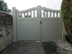 Derwent arch top with spindles, painted Sage Green Wooden Garden Gate, Garden Gates And Fencing, Wooden Gates, Fences, House Front Gate, Front Gates, Entrance Gates, Front Gate Design, House Gate Design
