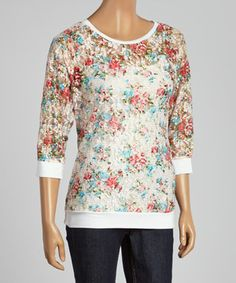 Look at this #zulilyfind! Pink Lace Floral Scoop Neck Top by Select Brands #zulilyfinds