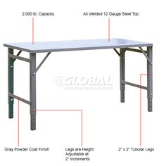 14 wide replacement h style aluminum folding table legs 2 pack extra long work benches work bench extra long 60 long x 36 wide folding table 249549 globalindustrial watchthetrailerfo