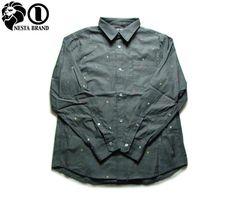 """【NESTA BRAND】【ネスタブランド】総柄長そでボタンシャツ """"MULTI LION"""" ブラック M-2XL【長そで】【ラスタ】【ライオン】【ドット】【レゲエ】【ボタンシャツ】【Rasta】【黒】【ロングスリーブ】【T1301SP】【送料無料】【あす楽】【楽天市場】"""