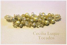 Novias.Tocado de cristales y distintos tipos de perlas. Hecho a mano Novias, Bodas, Tocados