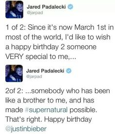 I can't with him. I also just realized that Jensen Ackles and Justin Bieber share a birthday. Making it that much funnier.