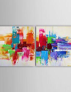 oliemaleri moderne abstrakt sæt af 2 håndmalede lærred med s... – DKK kr. 702