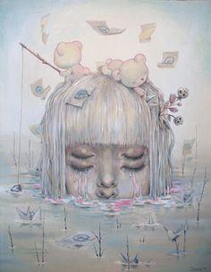 redlipstickresurrected:  Chiara Bautista aka Milk (Mexican, b. Mexico, resides Tucson, AZ) - Track #9, 2014  Paintings: Acrylics The Pop-Up Gallery