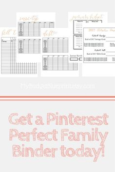 Get a Pinterest Perfect Family Binder: This home management planner is a perfect insert for your family binder will help you get more clear on your financial targets and implement the actionable steps to meet your goals. This printable would be a great for those using the cash envelope system or as a complement to a Financial Makeover (like Dave Ramsey's program).
