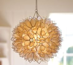 "Capiz Pendant (plug-in, not hard wired; 15"" diameter; also comes in flush mount) Pottery Barn - $277"