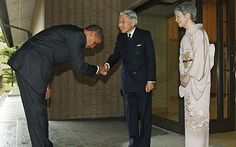 President Barack Obama is greeted by Japanese Emperor Akihito and Empress Michiko upon arrival at the Imperial Palace in Tokyo Photo: REUTERS