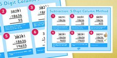 A poster which remind children how to use the formal method of columnar subtraction with 4 digit numbers. Primary Resources, Primary Maths, Primary School, Ks2 Maths, Numeracy, New Class, Addition And Subtraction, Fun Learning, Worksheets