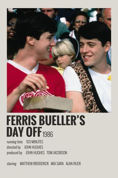 Alternative Minimalist Movie/Show Polaroid Poster – Ferris Buellers Day Off Iconic Movie Posters, Minimal Movie Posters, Cinema Posters, Iconic Movies, Room Posters, Poster Wall, Poster Prints, Film Poster Design, Poster Designs