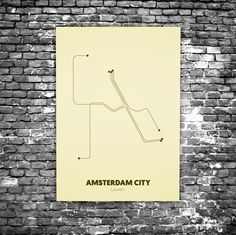 Amsterdam City C7 - Acrylic Glass Art Subway Maps (Metrokaart, Acrylglas)