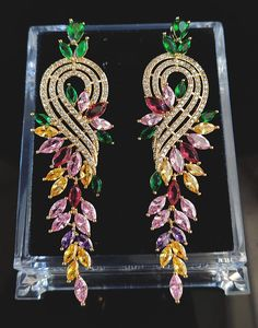 Cercei lungi Luxury Swarovski Rainbow Oriental, Swarovski, Rainbow, Jewellery, Gemstones, Luxury, Dresses, Rain Bow, Vestidos