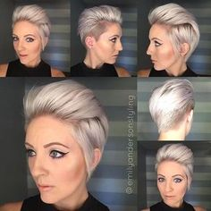 It's time for #shorthairtutorialmonday on the new cut @leahfittsbeautydesign did for me. So glad I got it cut before the @behindthechair_com show, can't wait for Saturday . Video coming up for this style. And for everyone asking what toner this is, honestly my toner has faded out and I am washing every shampoo with my @noyellowshampoo. My previous toner was the @kenraprofessional SV. #emilyandersonstyling