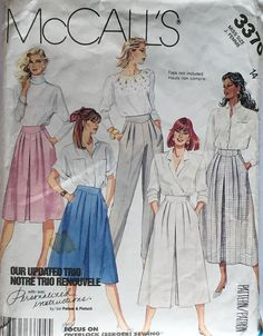 McCall's 3370 1980s Misses' Skirt Culotte and Pants