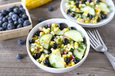 Blueberry Corn Salad This easy, fresh, and healthy salad is made with blueberries, sweet corn, and cucumbers.