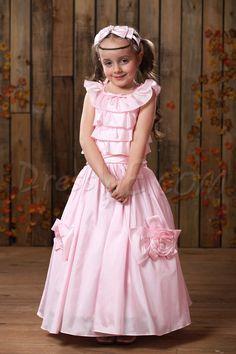 $108.99 Dresswe.com SUPPLIES Concise Tea-length A-Line Round-Neck Flower &Tiered Flower Girl Dress