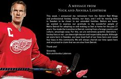 Detroit Red Wings' photo: A message from Nick and Annika Lidstrom.