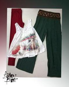 calza retro + palazo con apliques en cintura + musculosa