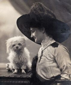Lady & her tiny white Poodle Dog, real photo pc posted 1912
