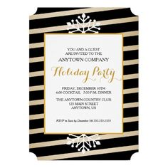 Black & gold diagonal stripe corporate Christmas party invitation with customizable text.