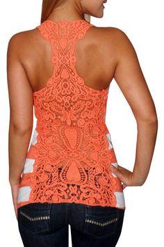 LOVE!!! Lace racerback....gorgeous color