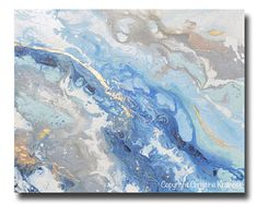 GICLEE PRINT Large Art Abstract Painting Blue Grey White Acrylic Painting Wall Art Home Decor Coastal Wall Decor Marbled Gold Leaf Christine