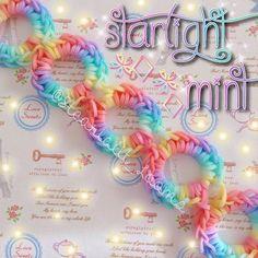 Starlight mint bracelet by Rainbow Loom Bracelets Easy, Loom Band Bracelets, Rainbow Loom Bands, Rainbow Loom Charms, Rubber Band Bracelet, Diy Bracelets Easy, Loom Band Patterns, Rainbow Loom Patterns, Rainbow Loom Creations