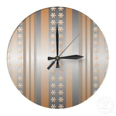 Choose a pre-existing design for your wall clock or create your own today! Striped Wallpaper, Retro Wallpaper, Wall Wallpaper, Peach Walls, Clock, Design, Home Decor, Wallpaper, Watch