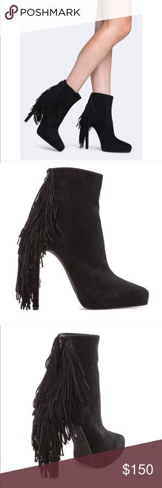 Jeffrey Campbell Black Fringe Sampson Booties Shoe Jeffrey Campbell Black Fringe Sampson Booties Shoes Heels Ankle Boots Platform in front size 7 Worn twice see photos Jeffrey Campbell Shoes Ankle Boots & Booties
