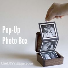 Great #gift #idea - #DIY #Photo Pop-Up Box. Use a small wooden box (or any kind you like), some scrap book paper, glue, ribbon, and pictures as a great way to put together a photo album.