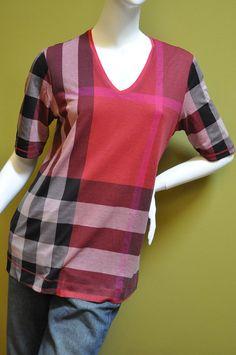 Burberry womens berry red reversible nova check blouse tee shirt sz M  #Burberry #Blouse #Casual