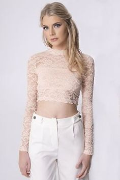 Womens Cropped Fashion New Lace Long Sleeved Top Celebrity by Pindydoll | eBay
