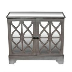 "Privilege 2 Door Mirrored Accent Cabinet 36.5"" H x 32"" W x 16"" D $395 + free ship"