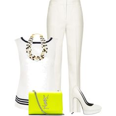 """White & touch of neon!!"" by carterjennifer on Polyvore"
